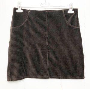HUE Brown Velour Corduroy Mini Skirt